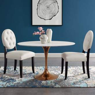 """Modway Lippa 48"""" Oval Dining Table in Rose White"""