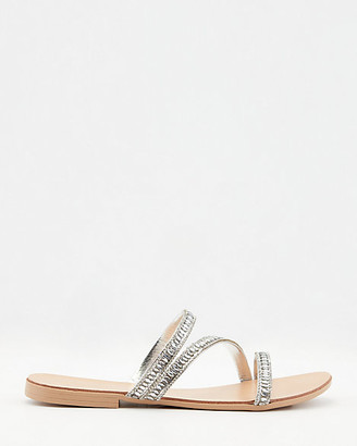 Le Château Italian-Made Metallic Slide Sandal