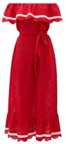 Marysia Swim Lemnos Ruffled Broderie-anglaise Cotton Dress - Womens - Red