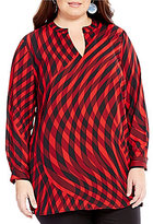 Vince Camuto Plus Swept Check Long Sleeve Blouse
