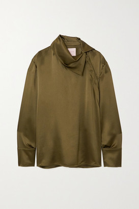 Roksanda Sierra Silk-satin Blouse - Army green