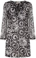 Tory Burch Cotton Floral Embellished Tunic