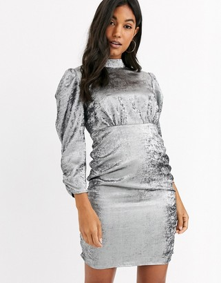 Vila mini dress with ruched sleeves in silver