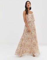 Asos Design DESIGN maxi dress with double layer pleat crop top and strap in print