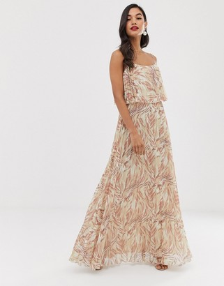 Asos Design DESIGN maxi dress with double layer pleat crop top and strap in print-Multi