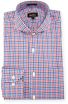 Neiman Marcus Classic-Fit Regular-Finish Check-Print Dress Shirt, Red/Navy