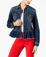 INC International Concepts Ruffled Denim Jacket, Created for Macy's