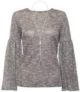 Quiz Grey Light Knit Necklace Top