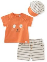 Absorba Baby's Three-Piece Knit Tee, Reverse French Terry Shorts & Hat Set