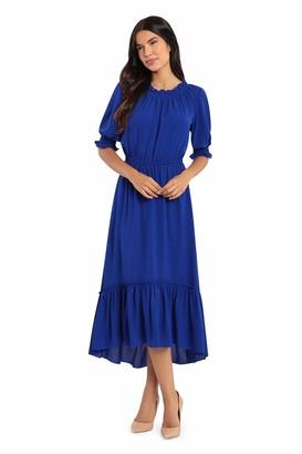Donna Morgan Women's Petite 3/4 Smock Sleeve Bubble Crepe Maxi Dress