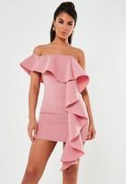 Missguided Blush Scuba Bardot Ruffle Mini Dress
