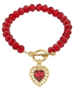2028 Gold-Tone Beaded Heart Charm Toggle Bracelet
