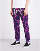 A Bathing Ape Mens Purple Camo Printed Iconic Camouflage Shark-Print Cotton-Jersey Jogging Bottoms