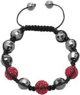 Shamballa Carlo Monti Women's Bracelet Inspired Red Length Adjustable Various Stones on Black Fabric Band JCM1154592