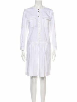 Burberry Crew Neck Knee-Length Dress w/ Tags White