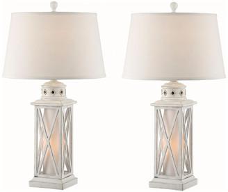 Studio 21 Seahaven Lantern Table Lamp, Set Of 2, Antique White