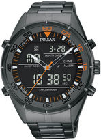 Pulsar Mens Gray Ion-Finished Analog/Digital Chronograph Watch