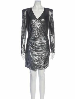 Balmain V-Neck Mini Dress Grey