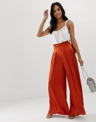 The Girlcode wide leg pants with D ring belt in copper
