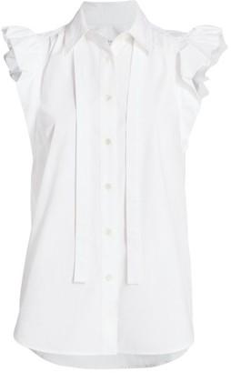 Derek Lam 10 Crosby Calvet Ruffle-Sleeve Cotton Shirt