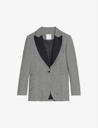 Sandro Courtney houndstooth single-breasted wool-blend blazer