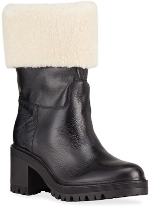 Marc Fisher Willoele Leather Ankle Boots w/ Shearling Collar