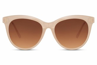 Cheapass Sunglasses Normal Sized Milky Butterfly Frame with Brown Gradient Lenses Black Metal Temples UV400 protected for Women