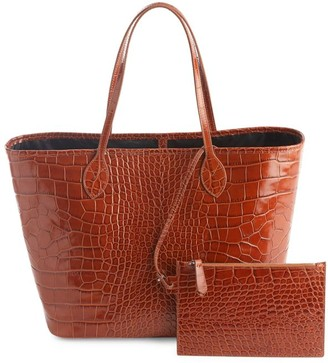 Royce New York Croc-Embossed Leather Tote