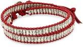 "M.Cohen Handmade Designs M. Cohen Handmade Designs Silver Stamped Beads on Wax Linen Double Wrap Bracelet, 12"""