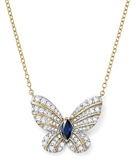 Bloomingdale's Diamond and Blue Sapphire Butterfly Pendant Necklace in 14K Yellow Gold, 17 - 100% Exclusive