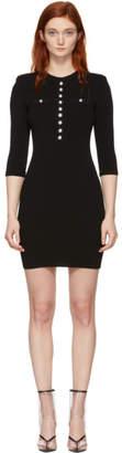 Balmain Black Buttoned Short Dress
