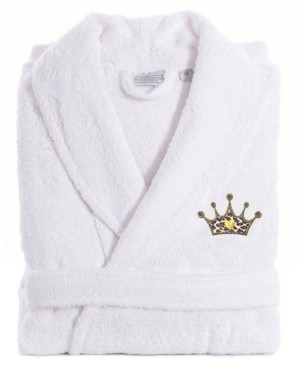 Linum Home Embroidered with Cheetah Crown Terry Bath Robe Bedding