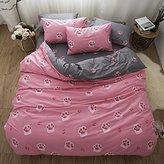 BuLuTu Bedding Bear Footprint Print Cotton Queen Kids Duvet Cover Sets Pink Reversible Full Summer Comforter Cover Sets 3 Pieces For Boys Girls Hidden Zipper Closure With 4 Corner Ties