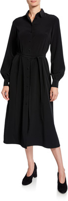 Co Long-Sleeve Belted Midi Shirtdress