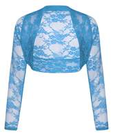 Outofgas Womens Plus Size Long Sleeve Floral Lace Crochet Bolero Shrug Cardigan Crop Top - - (100% Polyester)