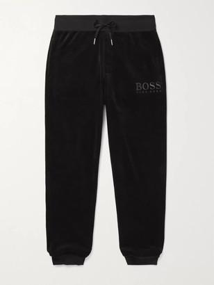HUGO BOSS Tapered Logo-Embroidered Cotton-Blend Velour Track Pants - Men - Black