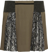 Mary Katrantzou Embroidered tulle and pleated silk mini skirt