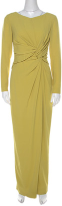 Paule Ka Lime Green Crepe Waist Knot Detail Evening Gown M