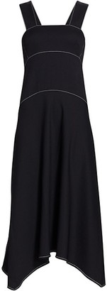 Proenza Schouler White Label Rumpled Pique Sleeveless Midi Dress