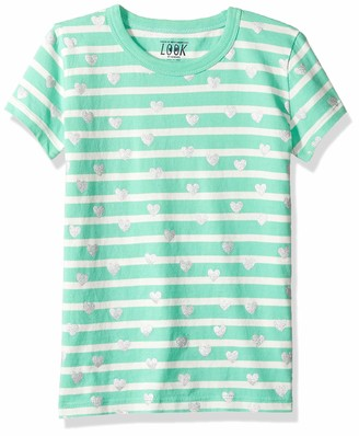 LOOK by crewcuts Girls' Short Sleeve Heart Stripe T-Shirt Red/Pink Medium (8) US