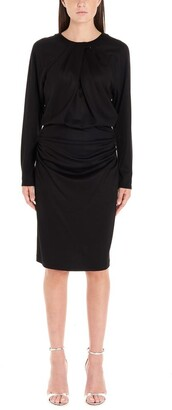 Diane von Furstenberg Long-Sleeves Draped Dress
