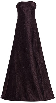 Rene Ruiz Collection Jacquard Strapless Flare Gown