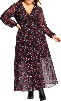 City Chic Perfect Posy Long Sleeve Maxi Dress