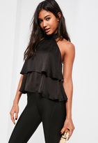 Missguided Black High Neck Double Frill Cami Top