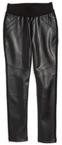 Bebe Girl's Faux Leather Inset Leggings