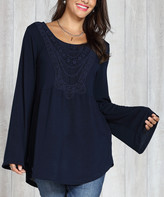 Suzanne Betro Weekend Women's Tunics 109 - Navy Lace-Trim Babydoll Tunic - Women