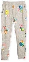 Stella McCartney Zoey Floral Slim-Fit Sweatpants, Gray, Size 4-10