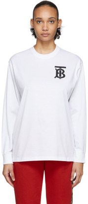 Burberry White Atherton Long Sleeve T-Shirt