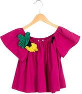 Lanvin Girls' Floral-Embellished Scoop Neck Top w/ Tags