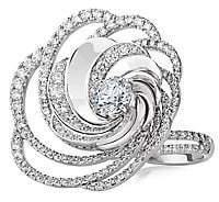 De Beers Women's Aria 18K White Gold & Diamond Swirl Ring